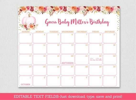 Blush Pink & Gold Glitter Dots Printable Baby Due Date with Printable Guess Baby Date Image