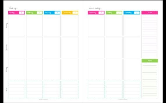 Calendar - Any Year Unfilled (Blank),1 Week 2 Page Spread, Potrait,  Printable Planner Pdf, Daily Planner Pages, Instant Download in Calendar Week To A Page