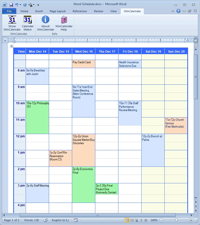 Calendar Creator For Microsoft Word With Holidays intended for Microsoft Access Schedulin/Calender  Templates