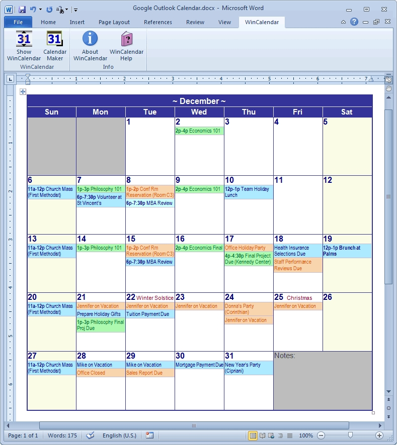 Calendar Creator For Microsoft Word With Holidays regarding Winn Calendar Template