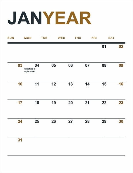 Calendar pertaining to Microsoft Understated Calendar Template Graphics