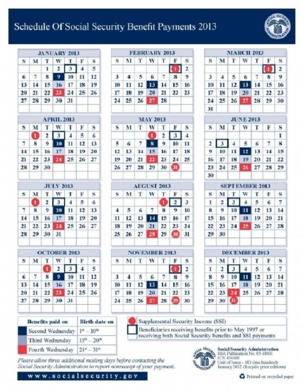 Calendar Schedule Social Security Retirement Deposit In 2020 within Disability Benefits Payment Schedule Photo