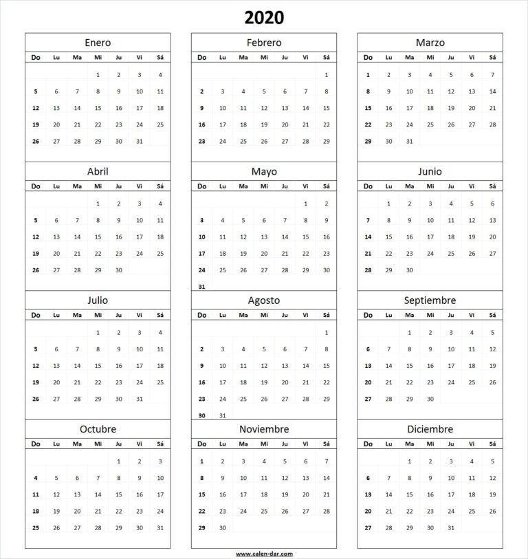 Calendario 2020 En Blanco Para Imprimir | Calendar with Calendar 2020 Excel Con Numero De Semana