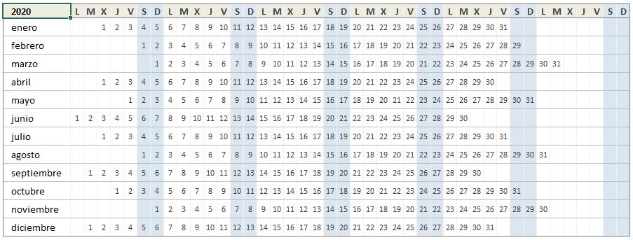 Calendario 2020 En Excel • Excel Total in Calendario  Anual Juliano 2020 Image