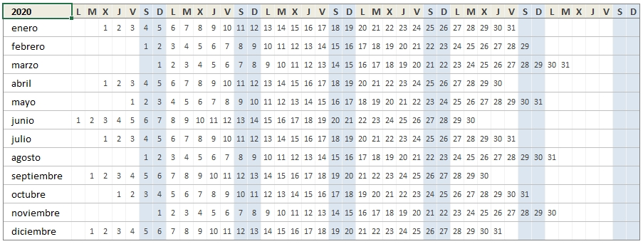 Calendario 2020 En Excel • Excel Total inside Calendario Juliano 2020 Image