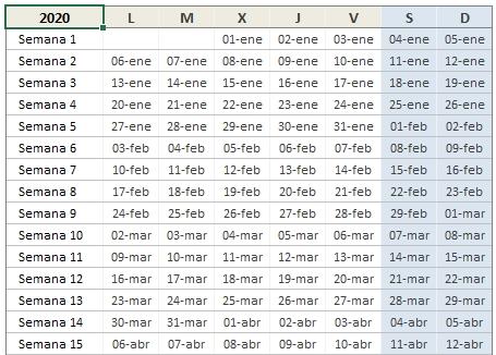 Calendario 2020 En Excel • Excel Total intended for Calendario  Anual Juliano 2020