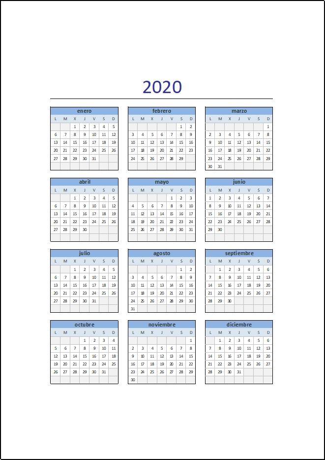 Calendario 2020 En Excel • Excel Total pertaining to Calendario  Anual Juliano 2020 Image