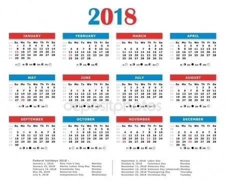 Calendario Del Año 2018. Colores Americano. Días Feriados in Numero De Semanas En El Calendario Graphics