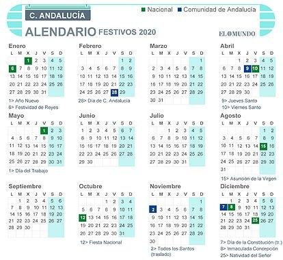 Calendario Laboral De Andalucía 2020: Festivos, Semana Santa inside Calendario Con Numeros De Semana 2020 Graphics