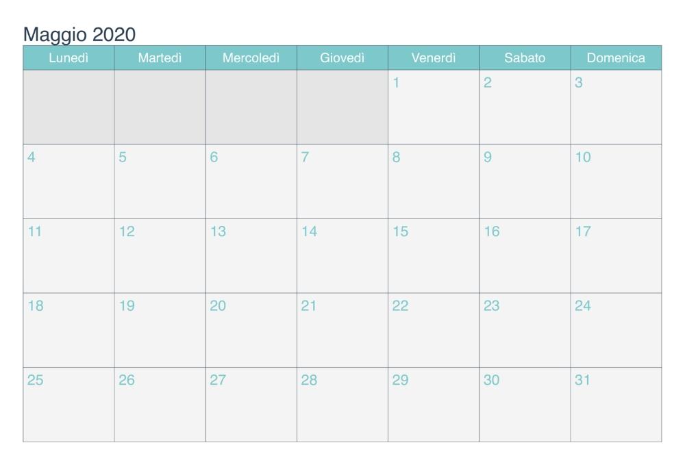 Calendario Mensile Maggio 2020 Da Stampare | Nosuvia In in Calendar 2020 Excel Con Numero De Semana Image