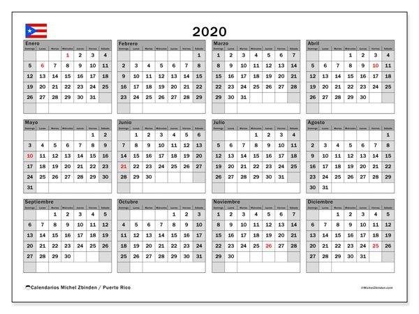 """Calendario """"Puerto Rico"""" 2020 Para Imprimir - Michel Zbinden Es throughout Calendarios Y Agendas De Puertorico"""