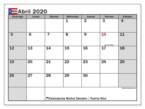 """Calendario """"Puerto Rico"""" Abril De 2020 Para Imprimir for Calendarios Y Agendas De Puertorico Graphics"""