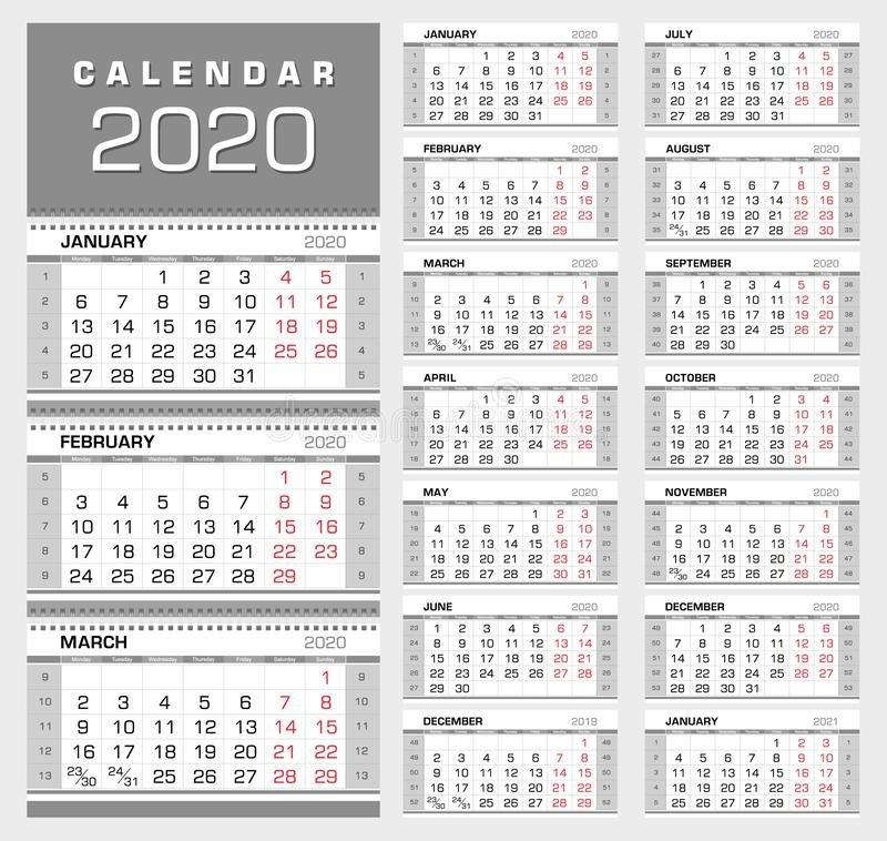 Calendario Trimestral 2020 De La Pared Con Números De La within Numero De Semanas En El Calendario Graphics
