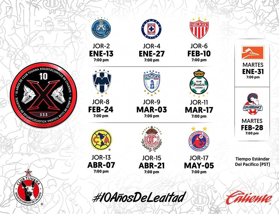 Calendario Xolos Tijuana Clausura 2017 – Agp Deportes pertaining to Calendario Xolos Tijuana