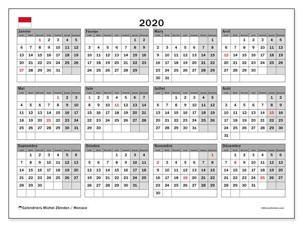 Calendrier Annuel 2020 - Monaco In 2020 | Calendar for Calendar 2020 Excel Con Numero De Semana