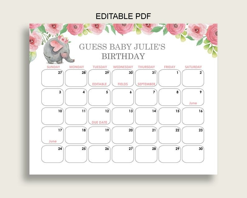 Celebration & Occasion Supplies Yellow Chevron Elephant Baby in Baby Due Date Calender Graphics