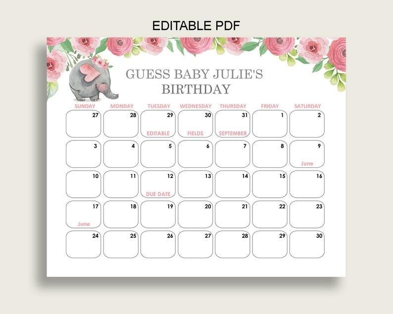 Celebration & Occasion Supplies Yellow Chevron Elephant Baby inside Baby Due Date Calendar
