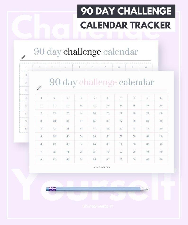 Challenge Calendar Printable / Challenge Tracker / Habit intended for 90 Day Project Calendar Printable