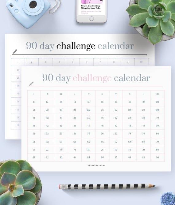 Challenge Calendar Printable / Challenge Tracker / Habit Tracker / 90 Day  Challenge / Calendar Tracker / Printable Calendar / Goal Planner in 90 Day On Claendar