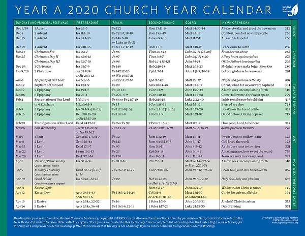 Church Year Calendar 2020, Year A for Church Paraments Schedule