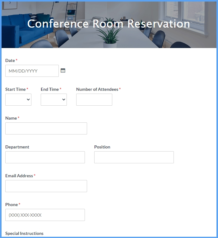 Conference Room Reservation Form Template | Formsite in Conference Room Template Samples Graphics