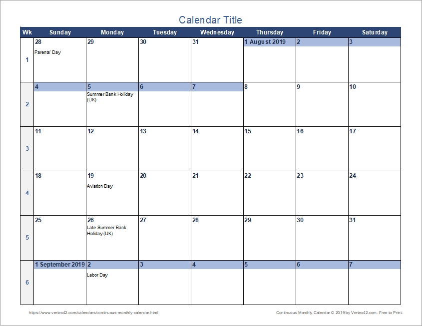 Continuous Monthly Calendar For Excel inside Printable Calendar With Days Numbered