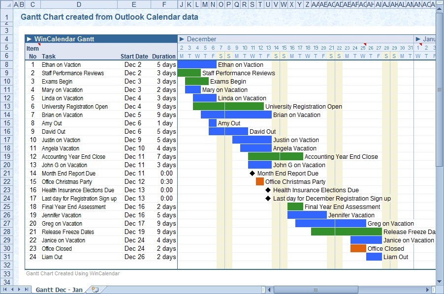 Convert Outlook Calendar To Excel And Word within Outlook Print Annual Calendar