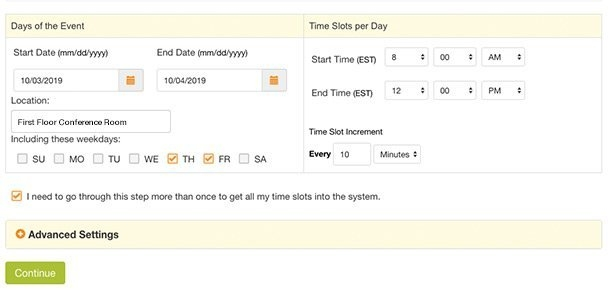 Create A Time Slot Sign Up with Pick A Calender Date And Pay That Fundraiser