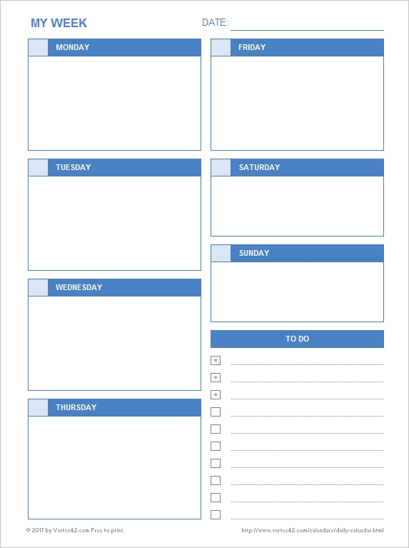 Daily Calendar - Free Printable Daily Calendars For Excel inside Page Per Day Calendar Template Photo