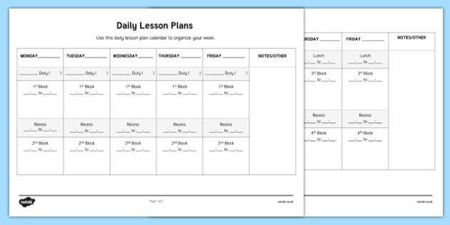 Daily Lesson Plans Week To A Page Calendar (Teacher Made) pertaining to Calendar Week To A Page Photo