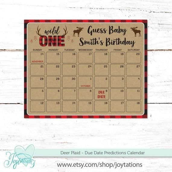 Deer Plaid Due Date Predictions Calendar Guess Baby'S | Etsy throughout Guess Baby Smith Due Da