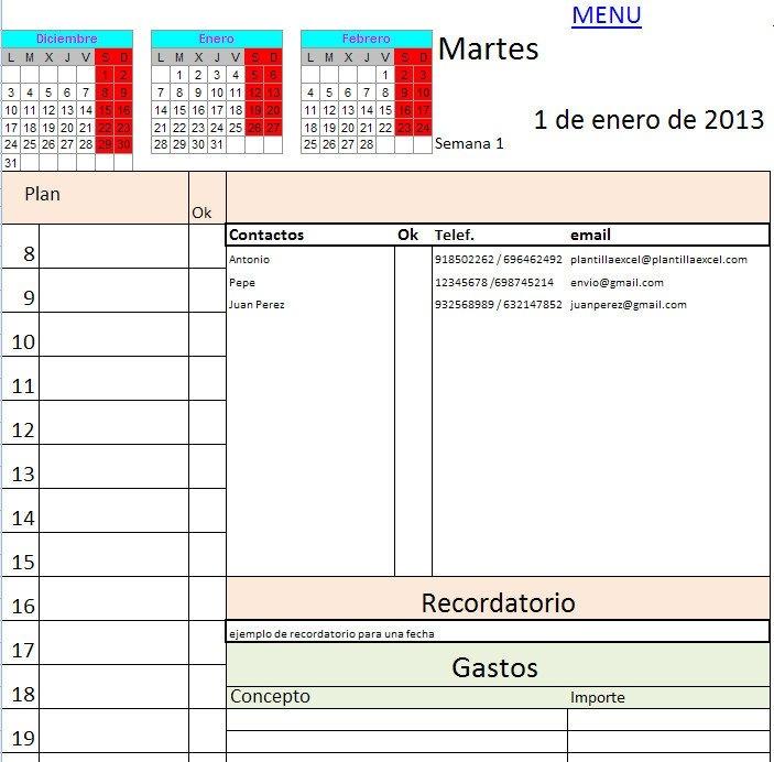 Descargar Agenda 2013 En Excel En Español within Bajar Agenda Para Excel