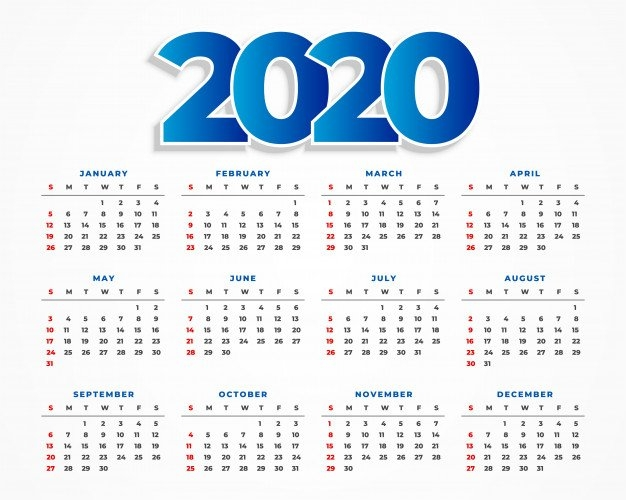 Diseño Limpio De La Plantilla Del Calendario 2020 | Vector Gratis within Calendario Con Numeros De Semana 2020 Graphics