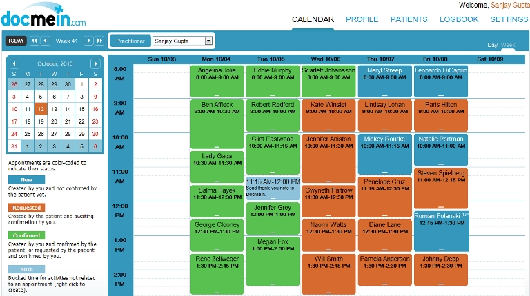 Docmein | Features | Color Coded Calendar within Color Coded Schedule Image