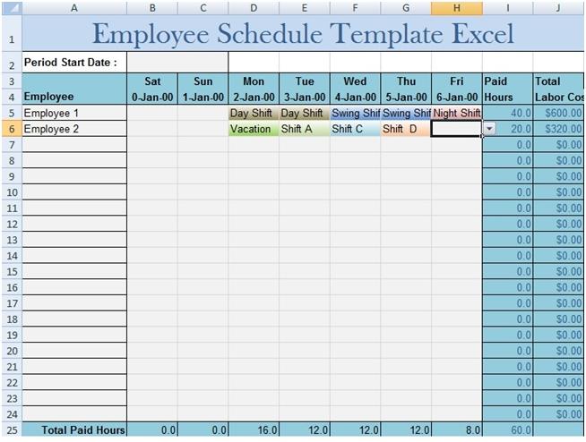 Download Employee Schedule Template Excel   Schedule in Downloadable Employee Schedule Template Graphics