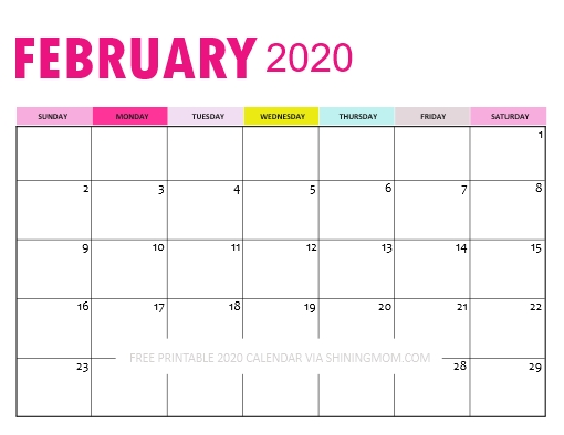Downloadable Calendar 2020: So Pretty In Pink! throughout 8.5X 10 Free February Blank Calendar