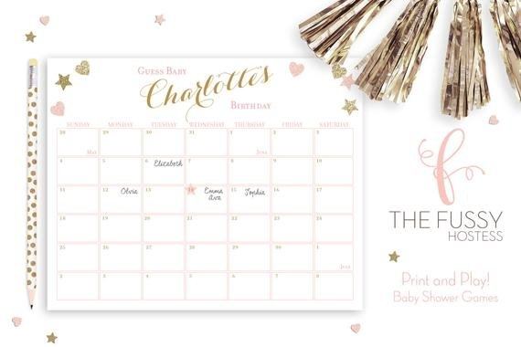 Due Date Calendar Game, Guess The Due Date, Birthday in Baby Guess The Date Graphics