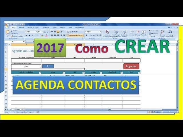 ✔️ Como Realizar Tu Agenda De Contactos ‼️ Con Excel De regarding Bajar Agenda Para Excel