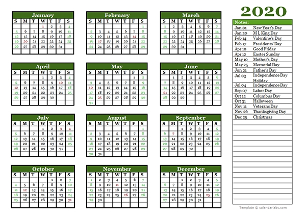 Editable 2020 Yearly Calendar Landscape - Free Printable throughout Microsoft Calendar Template 2020 Image