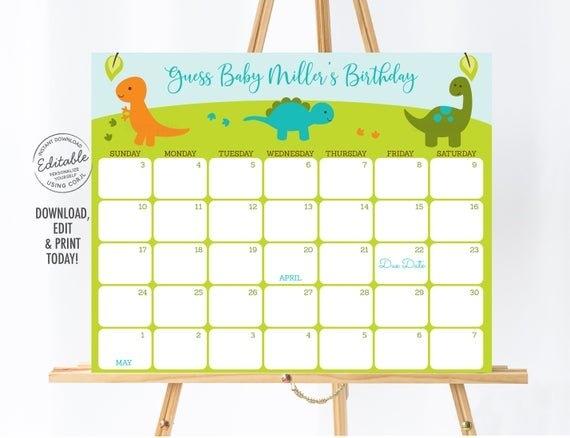 Editable Dinosaur Baby Due Date Calendar Game, Dinosaur Baby for Guess The Due Date Calendar Template Free