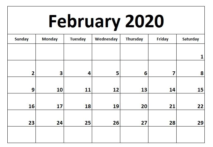 Editable February 2020 Calendar Blank   February Calendar in 2020 February Calendar Printable Free Pdf Image