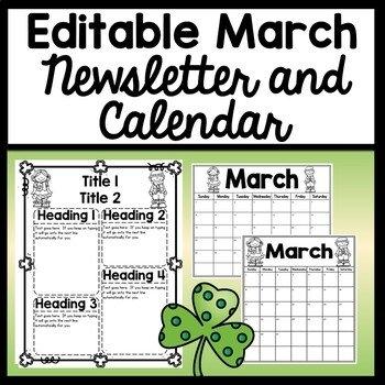 Editable March Calendar Worksheets & Teaching Resources   Tpt in Free Preschool Calendar Sarah Kirby Graphics
