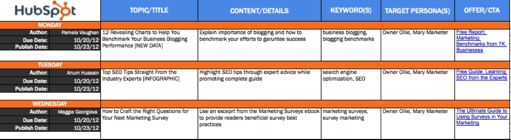 Editorial Calendar Templates For Content Marketing: The regarding Content Marketing Calendar Template Photo