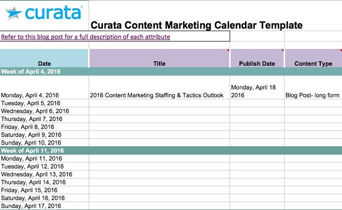 Editorial Calendar Templates For Content Marketing: The within Content Marketing Calendar Template