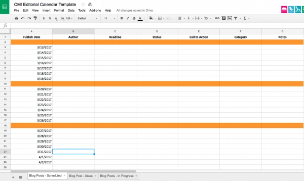 Editorial Calendar Templates with Content Marketing Calendar Template