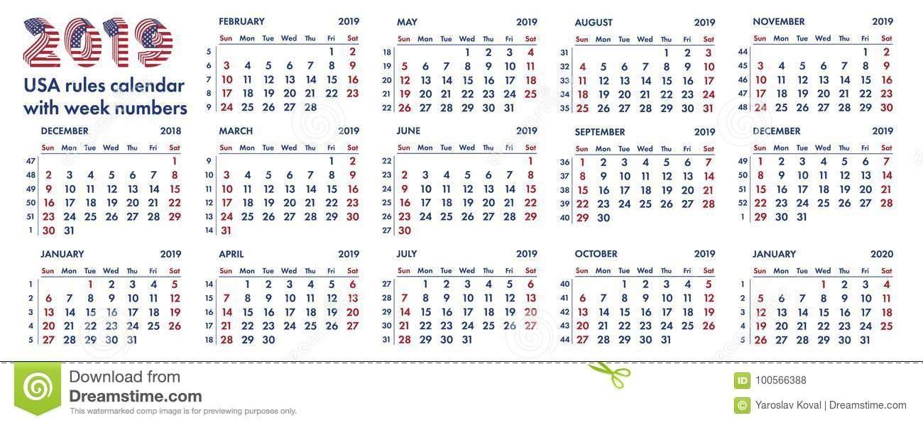 Ejemplo Americano De 2019 Semanas De Calendario Stock De for Calendario De Semanas