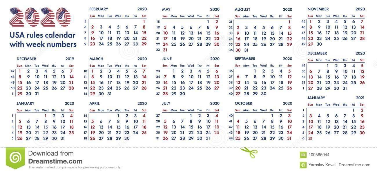 Ejemplo Americano De 2020 Semanas De Calendario Stock De inside Calendario Con Numeros De Semana 2020