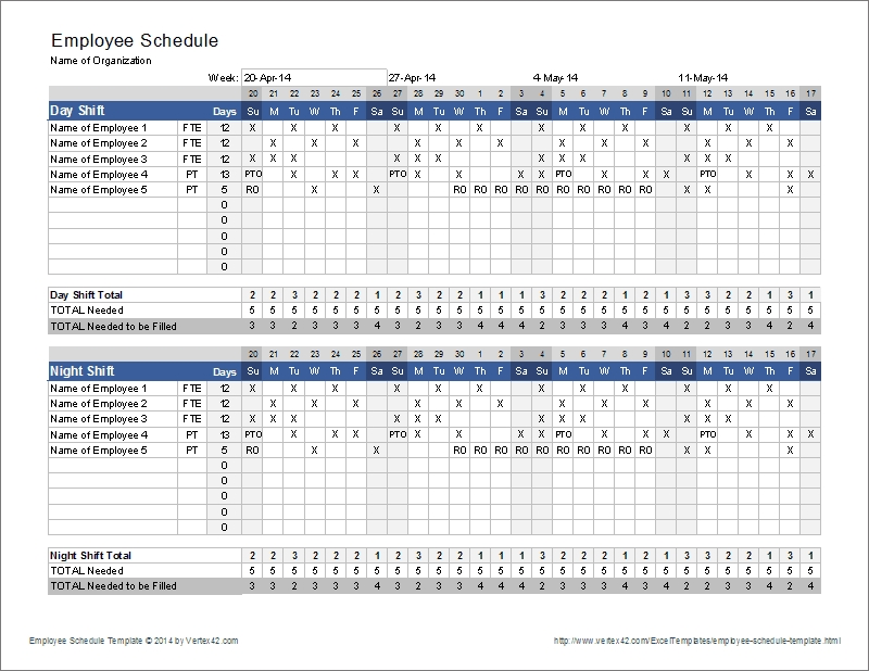 Employee Schedule Template | Shift Scheduler with Free Monthly Shift Scheduling Calendars