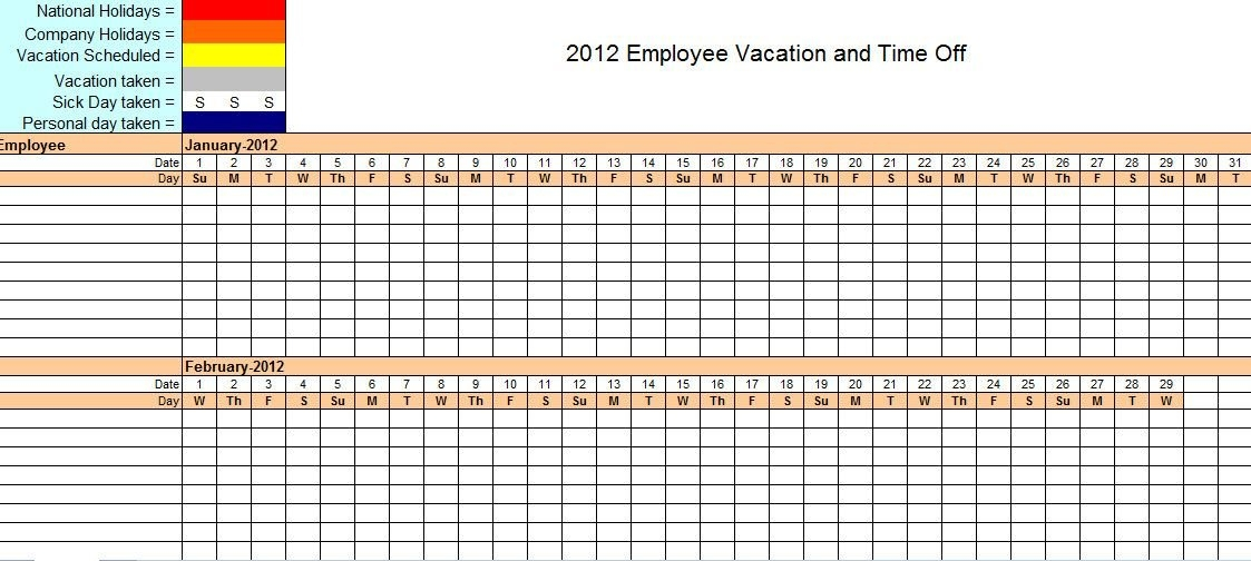 Employee Vacation Tracking Excel Template | Vacation Planner intended for Time Off Calendar Template