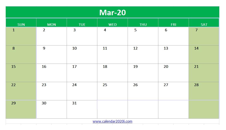 Excel 2020 Monthly Calendar Printable Templates | Calendar 2020 with regard to Microsoft Calendar Template 2020 Image
